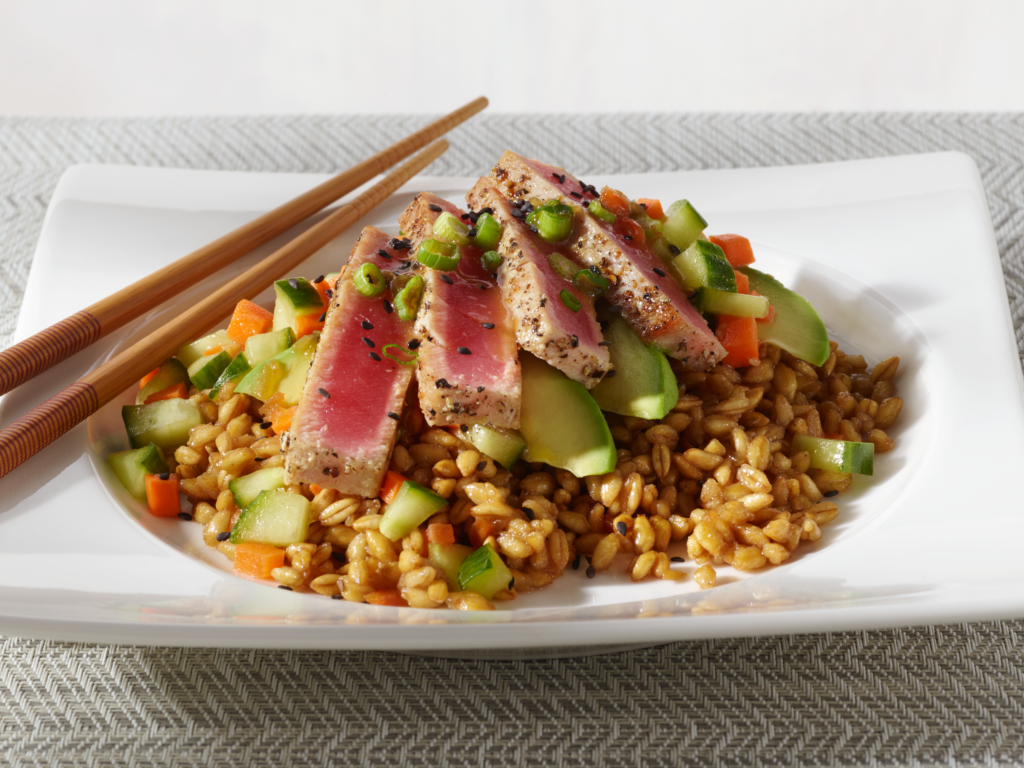 asian seared tuna stack