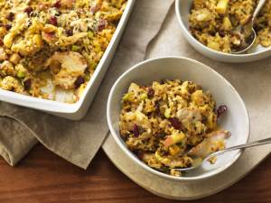 Autumn Squash Turkey Casserole in pan and bowl