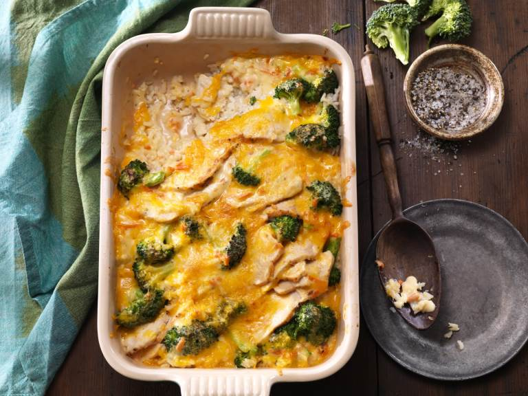 Broccoli Turkey Divan in a casserole dish