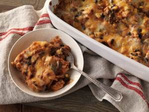 Easy Enchilada Casserole in a casserole pan and dish