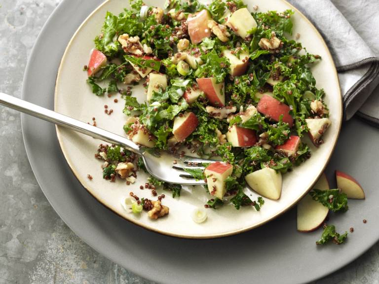 Fuji Apple Quinoa Salad on a plate with fork