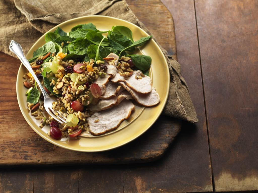 Harvest Grain Salad with Turkey on a plate