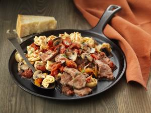 Steak and Tortellini Skillet in the pan