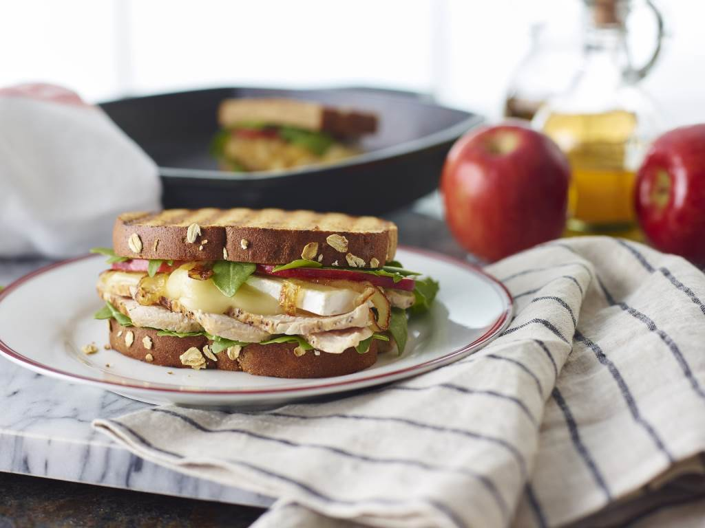 Turkey Apple Brie Panini on plate