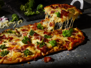 Broccoli Cheddar Soup Flatbread Pizza