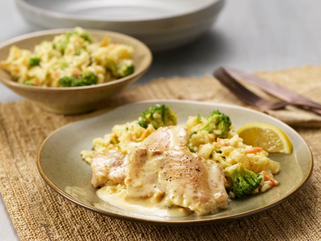 Cheesy Chicken Broccoli Rice Skillet