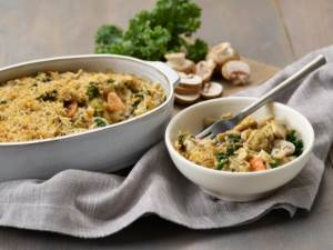 chicken mushroom and kale casserole