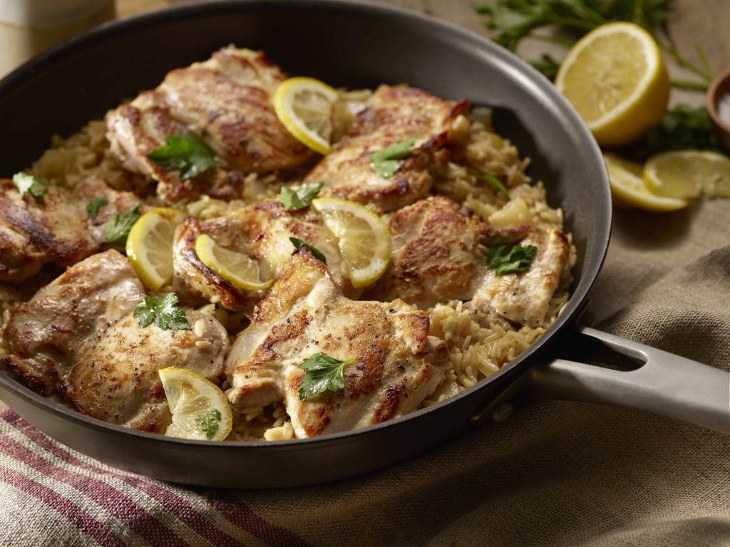 lemon chicken and rice skillet