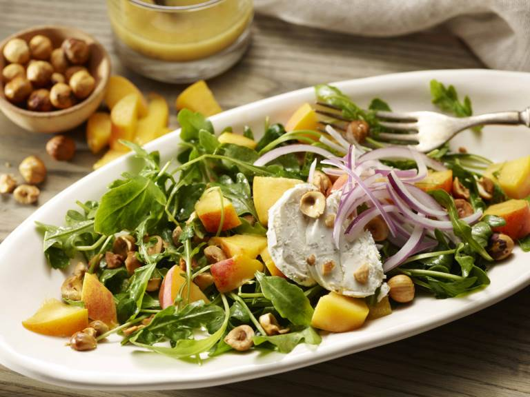 peach goat cheese salad