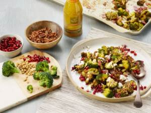 Roasted Broccoli Salad with Pomegranate