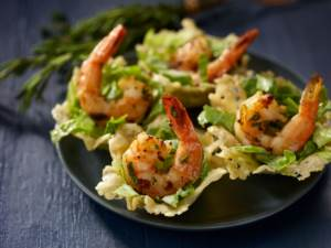 Shrimp Caesar Salad with Parmesan Cups